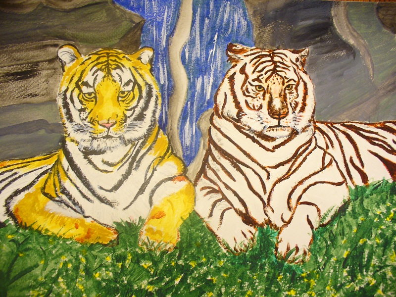 Femikey Designs: Acrylic Painting - Yellow and White Tiger
