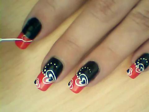 Manikir-obuka-tutorijal-3-(crveno-crni-nail-art-nokti)-004