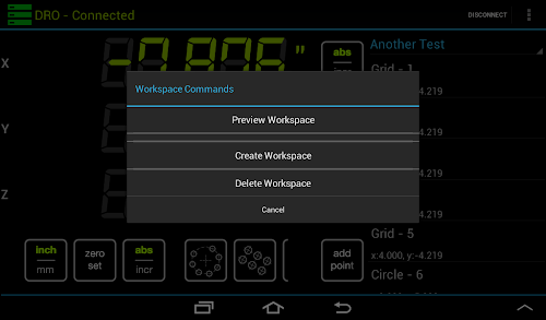 "Android DRO application displaying the ""Workspace Commands"" menu"