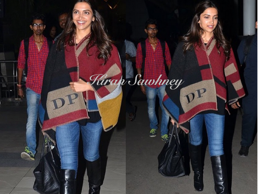 Deepika Padukone with her monogrammed Burberry cape