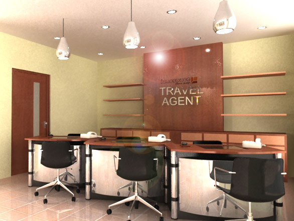 Lanospace bakery shop and travel agent office with fully for Travel agency office interior design ideas