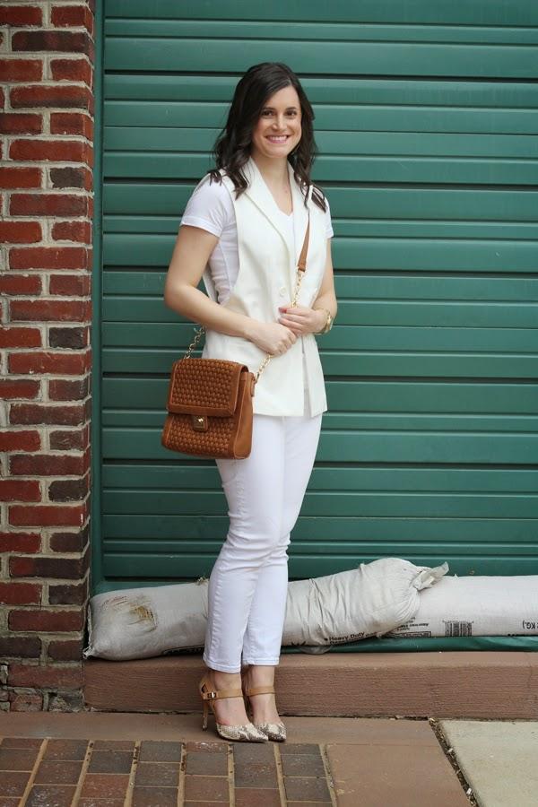 White vest, white v-neck, white jeans, Gap jeans, white Gap jeans, white out