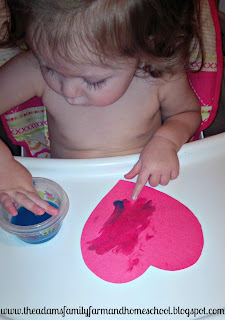 Learning blue with edible paint