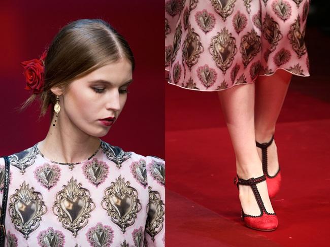 Dolce & Gabbana 2015 SS Pink Silk Organza Sacred Heart Dress on Runway