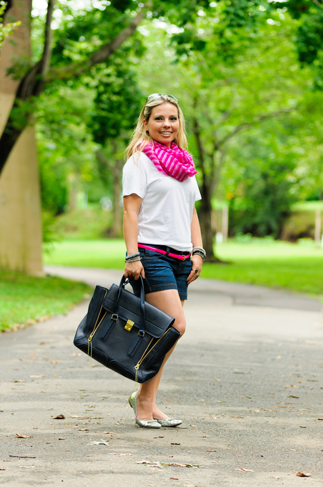 White t-shirt, jean shorts, pink stripped scarf, and 3.1 Phillip Lim Pashli Satchel