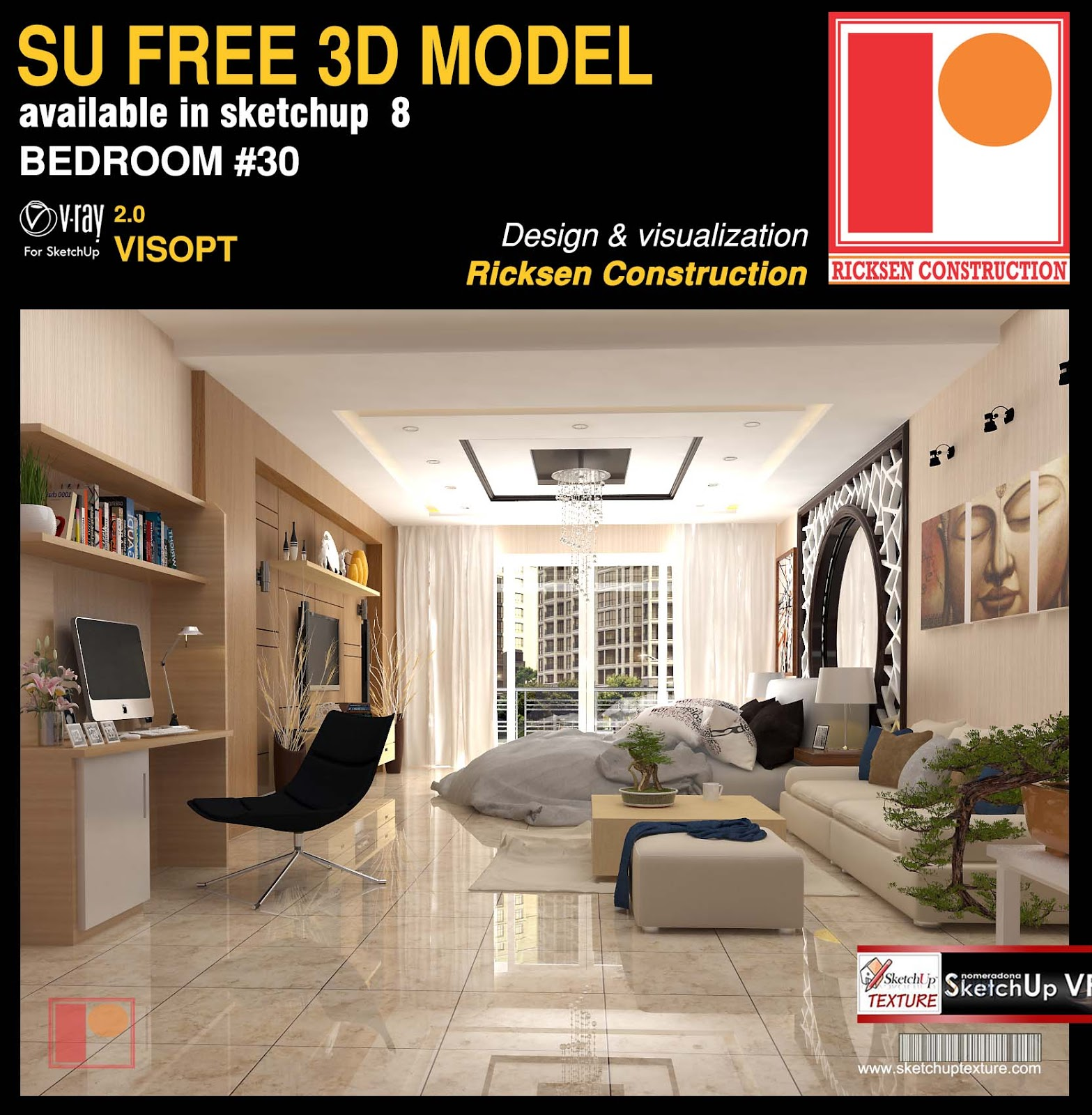 Free sketchup model bedroom 30 and Vray Visopt