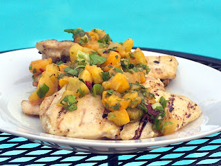 chicken+with+peach+salsa Grilled Chicken with Peach Chipotle Sauce