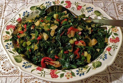 Serving Dish Filled with Italian Style Braised Kale