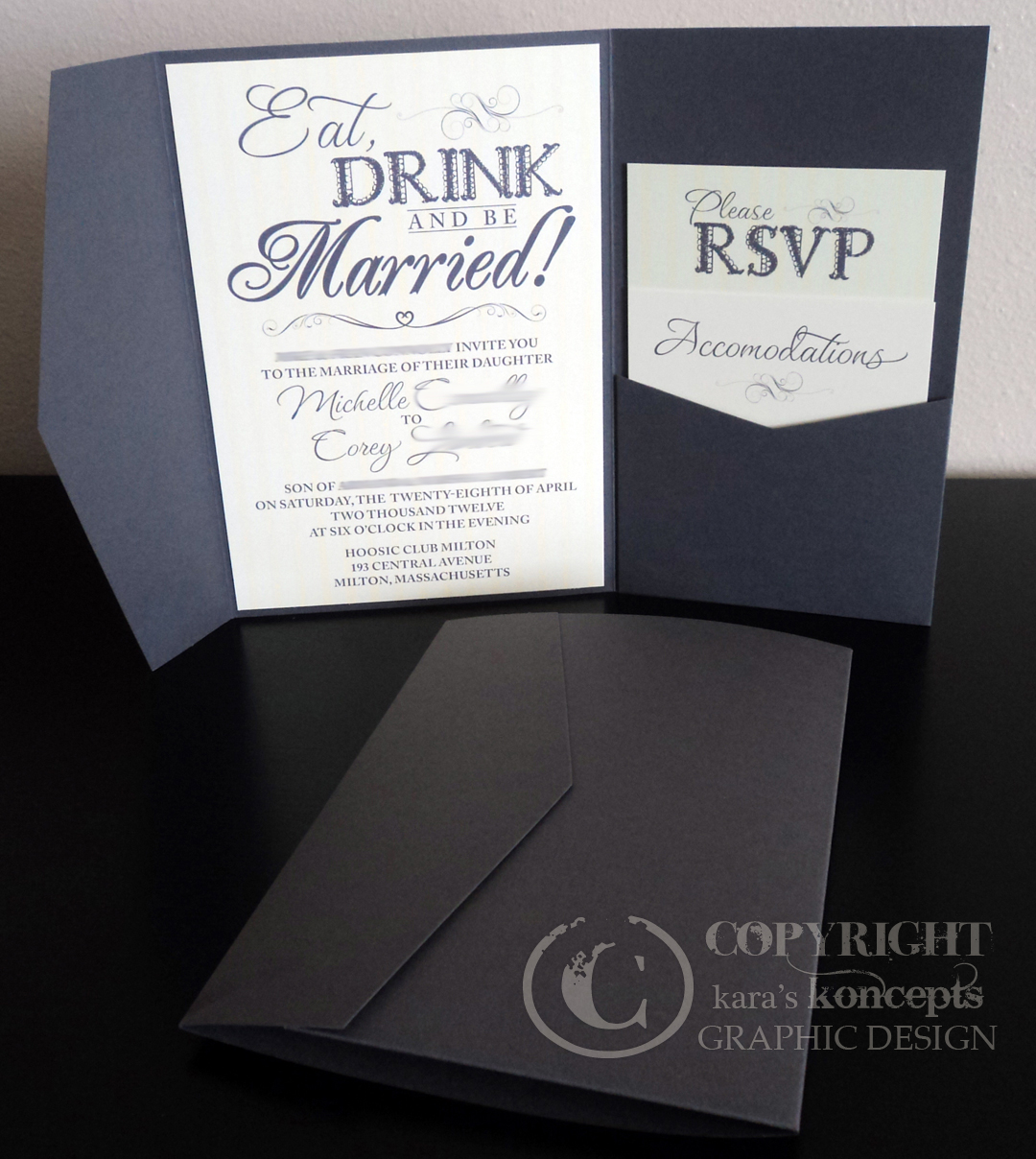 Michelle + Coreyu0027s Pocketfold Invitations   Eat, Drink U0026 Be Married!