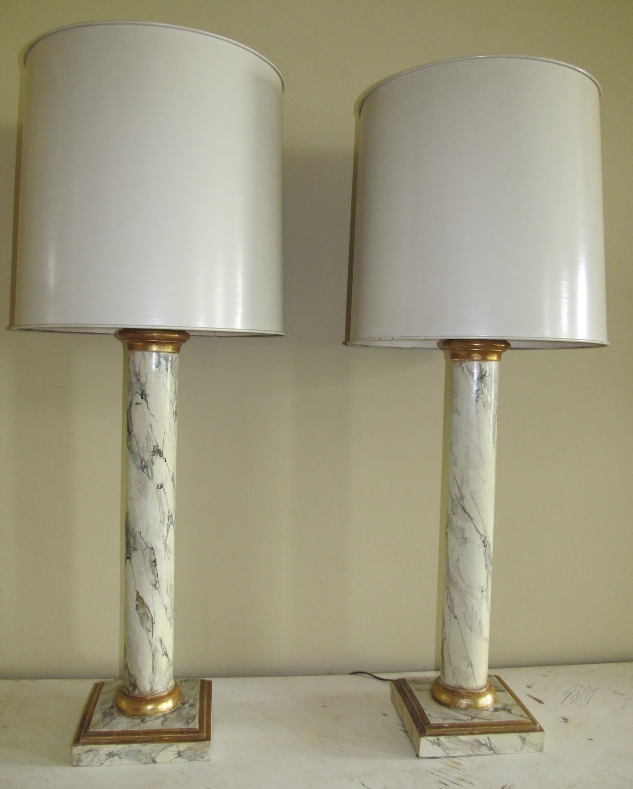 25.5 Inches Tall To Base Of Socket. Bases Are 8 Inches Square. Shades Are  16 Inches In Diameter.