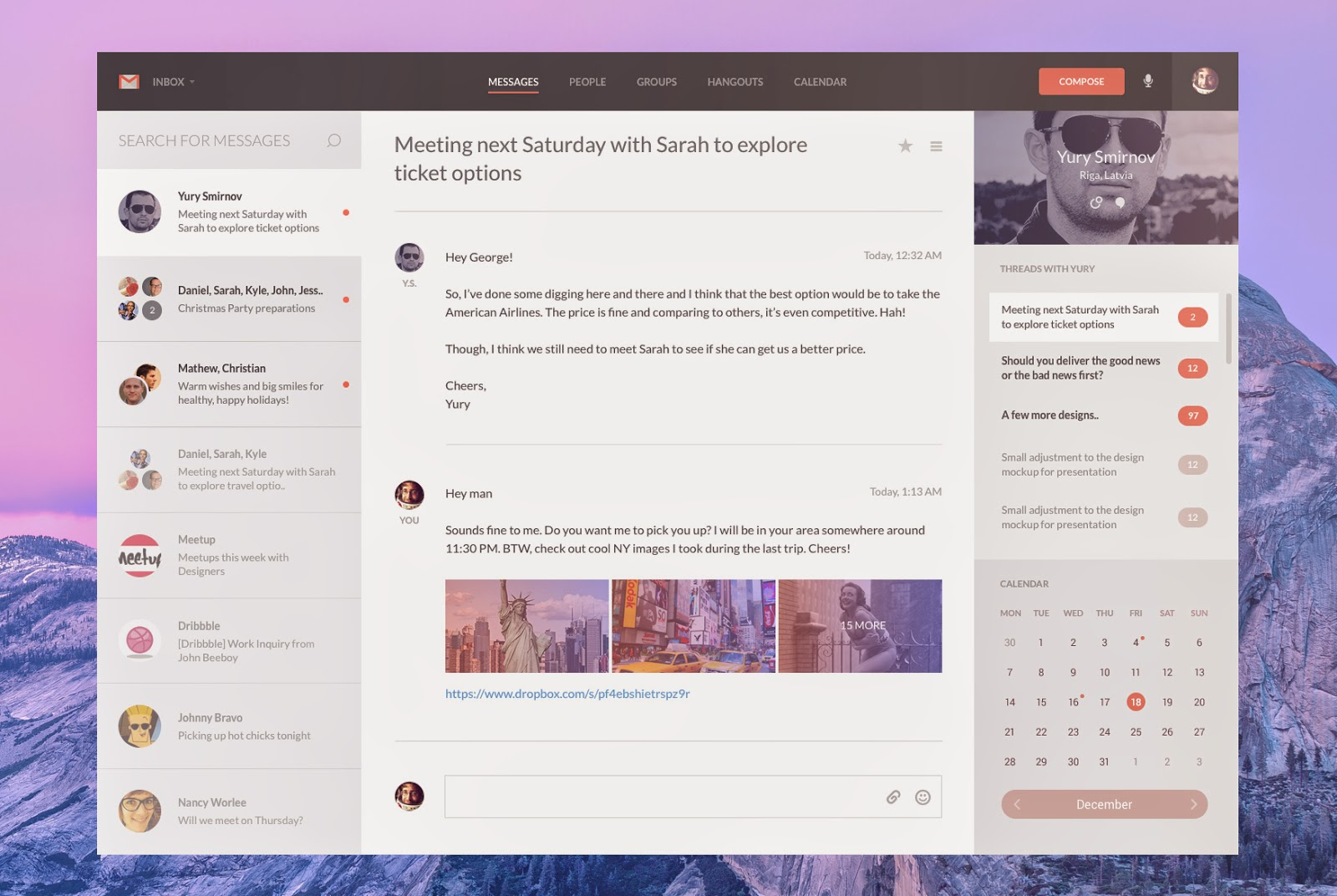 Free PSD Gmail Template Concept