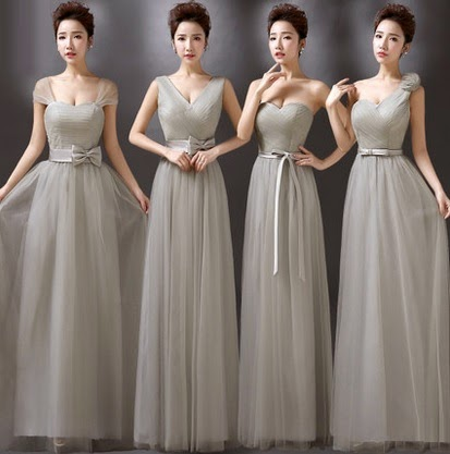 Four-Design Elegant Gray Full Lace Maxi Bridesmaids Dress
