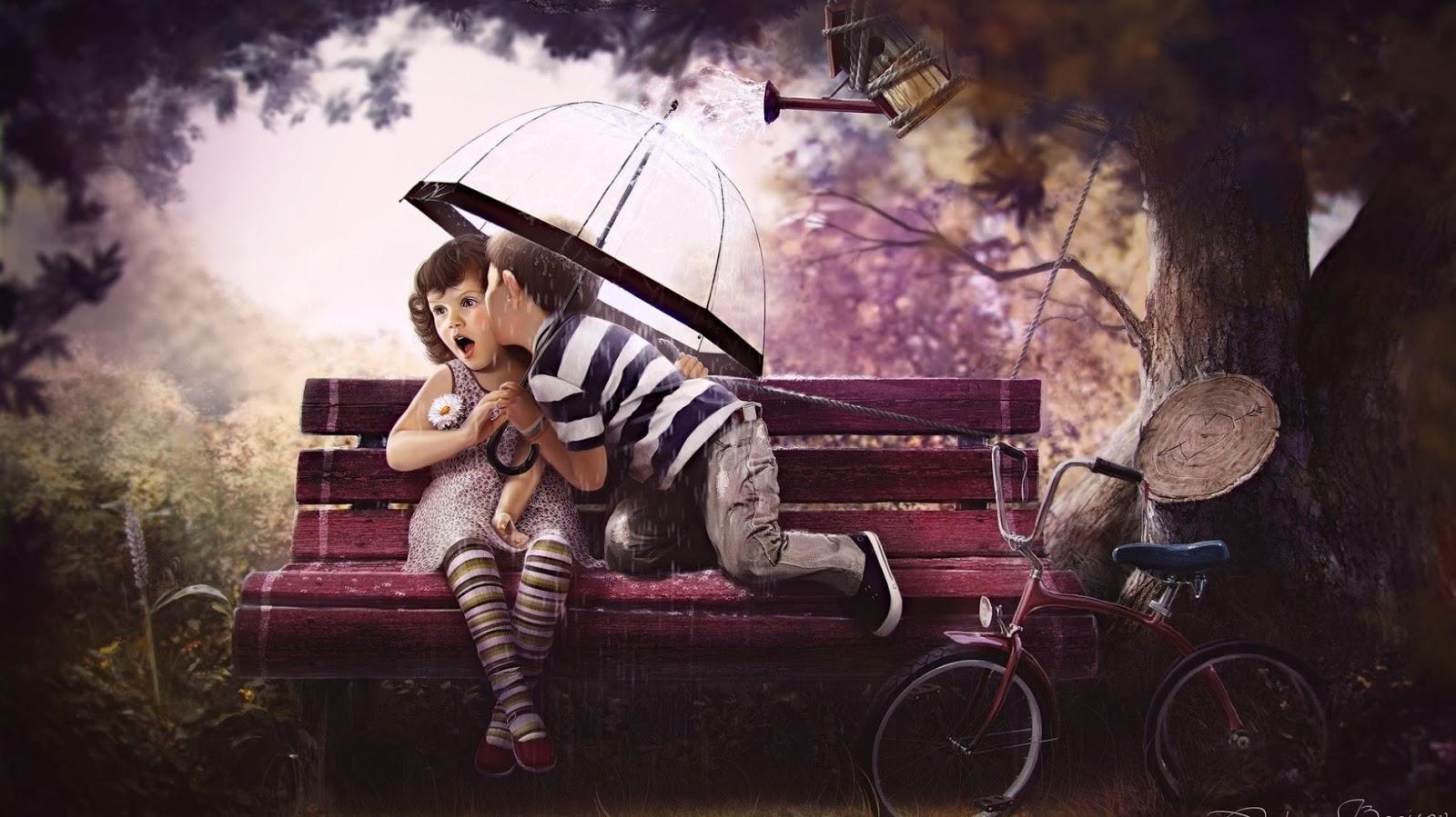 Nice Little Boy And Girl Romantic Mood