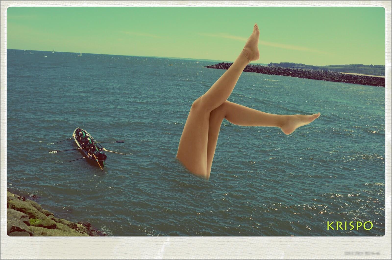 fotomontaje de una sirena con trainera en hondarribia