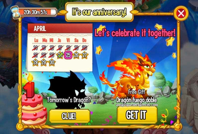 imagen del calendario de aniversario de dragon fuego doble de dragon city ios