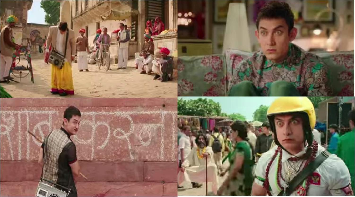 Aamir Khan Looks in PK movie with lehanga over coat, transister, wide eyes, paan (betel leaf), helmet and ornaments of different religions