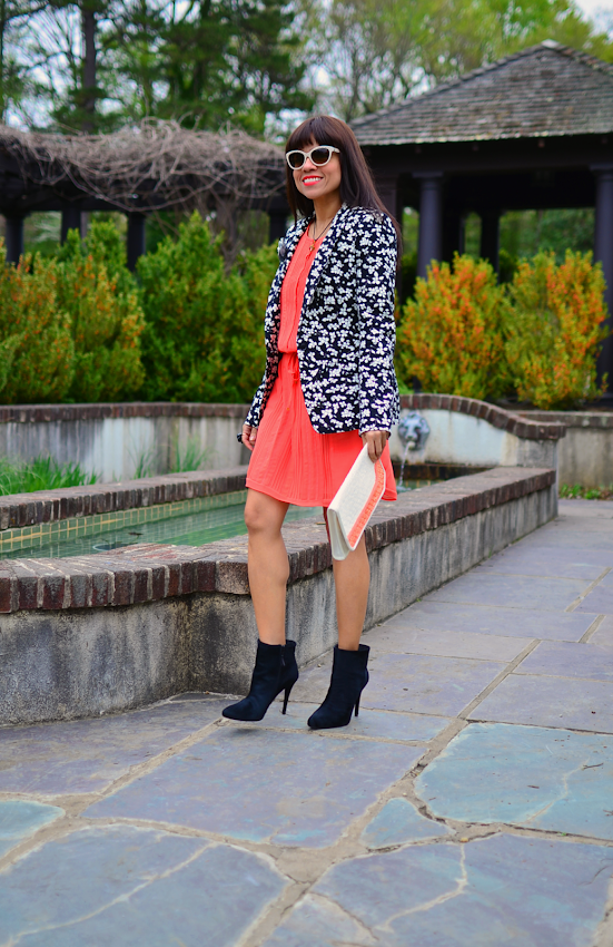 Outfit with coral dress