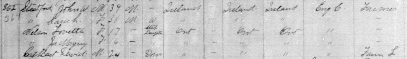 1891 census of Canada, Manitoba, district 7, sub-district G, North Cypress, p. 66, family 364, John W Stratford household; RG 31; digital images, Ancestry.com, Ancestry.com (http://www.ancestry.com/ : accessed 19 Jan 2015); citing Library and Archives Canada microfilm T-6293.