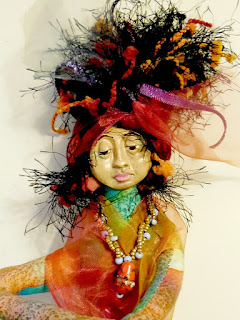 Mama Muse Cloth and Clay Art Doll by Jeanne Fry