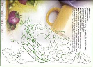 desenho de cesto com cajus maças e morangos