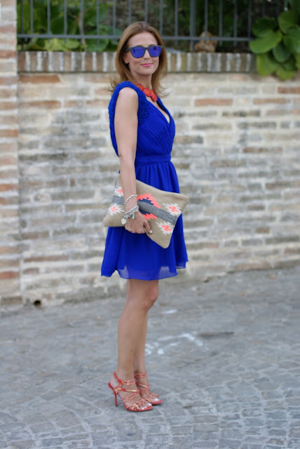 Royal blue chiffon dress, cute blue dress, elegant summer outfit, Fashion and Cookies