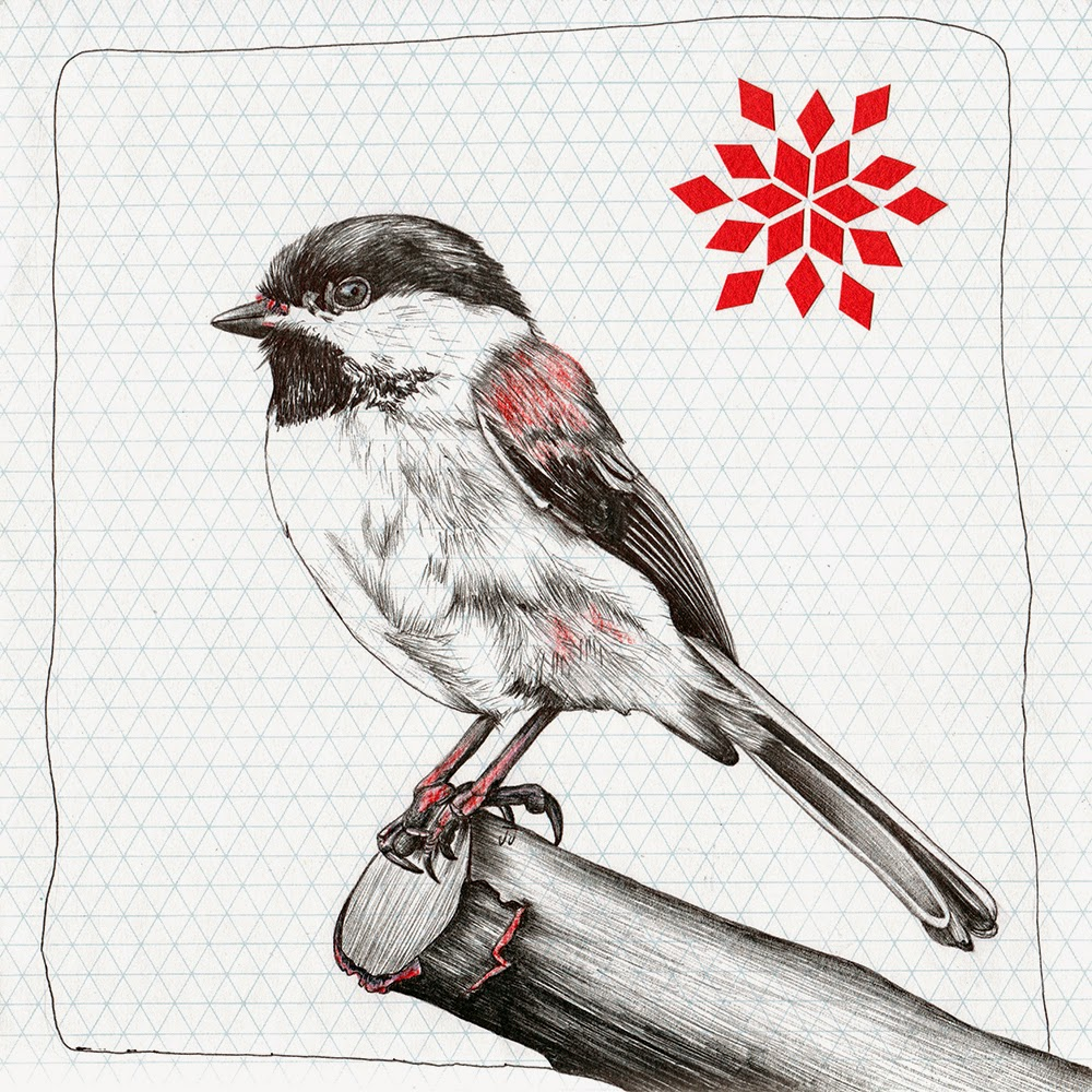 """Chickadee 2.0"", Mixed Media Illustration by Jennifer Johansson"