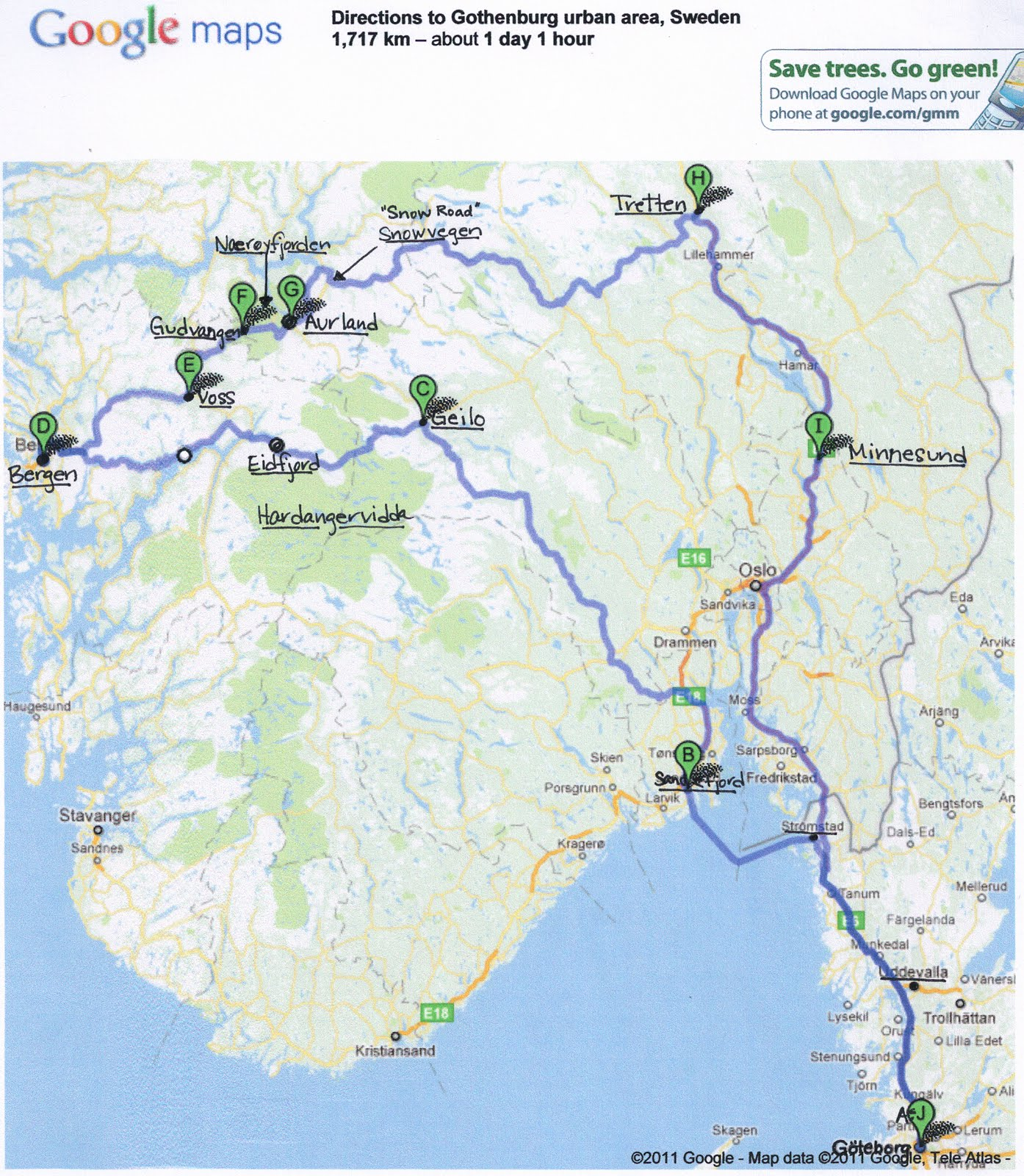 our route starting in gothenburg in the bottom right