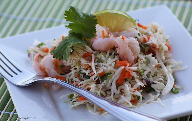 Shrimp Angel Hair Cabbage Salad with Lime Dressing