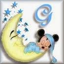 Alfabeto de Mickey Bebé durmiendo en la luna G.