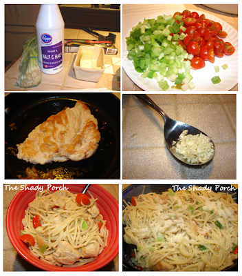 Pasta with Garlic Cream Sauce & Chicken spaghetti recipe easy dinner