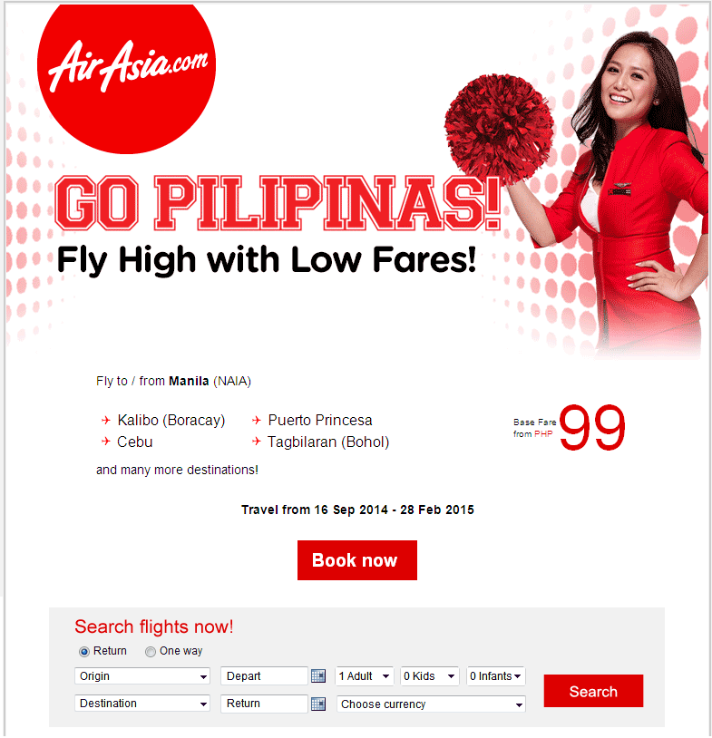 Air Asia: Go Pilipinas! Fares from PHP99!
