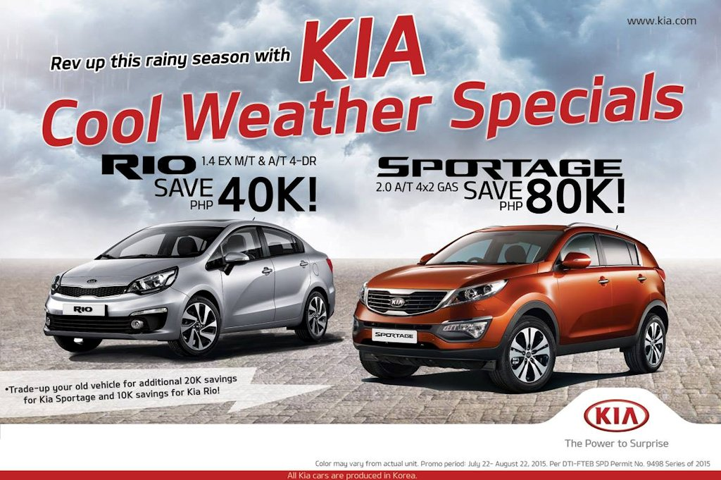 Kia Extends Rainy Day Season Offers With Cool Weather Specials - Cool cars and prices