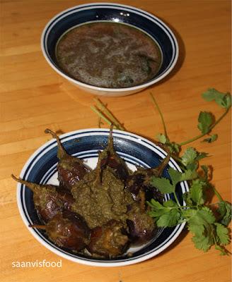 Vankaya Kotimeera Kobbari Karam/ Egg plant Coriander Coconut Curry