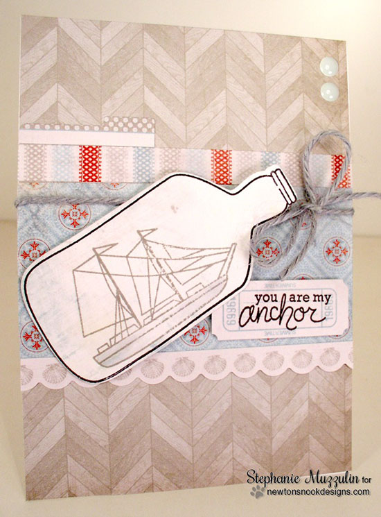 Ship in a bottle Card by Stephanie Muzzulin | Message in a Bottle Stamp set by Newton's Nook Designs