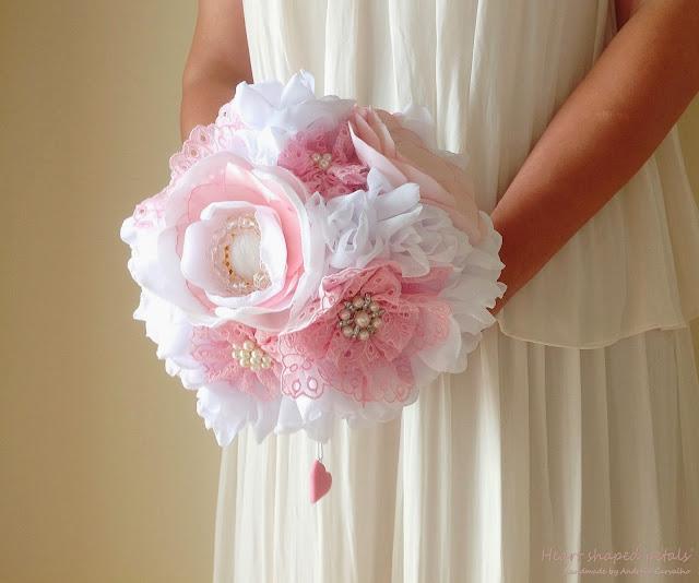 Romantic peony fabric brooch bouquet