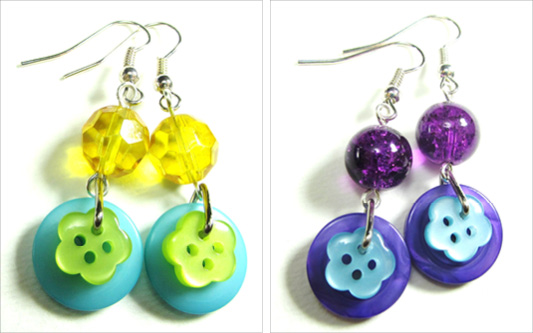 Long drop dangle earrings with cute flower buttons and colorful beads