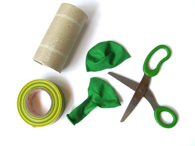 детская поделка из шарика и рулончика от туалетной бумаги