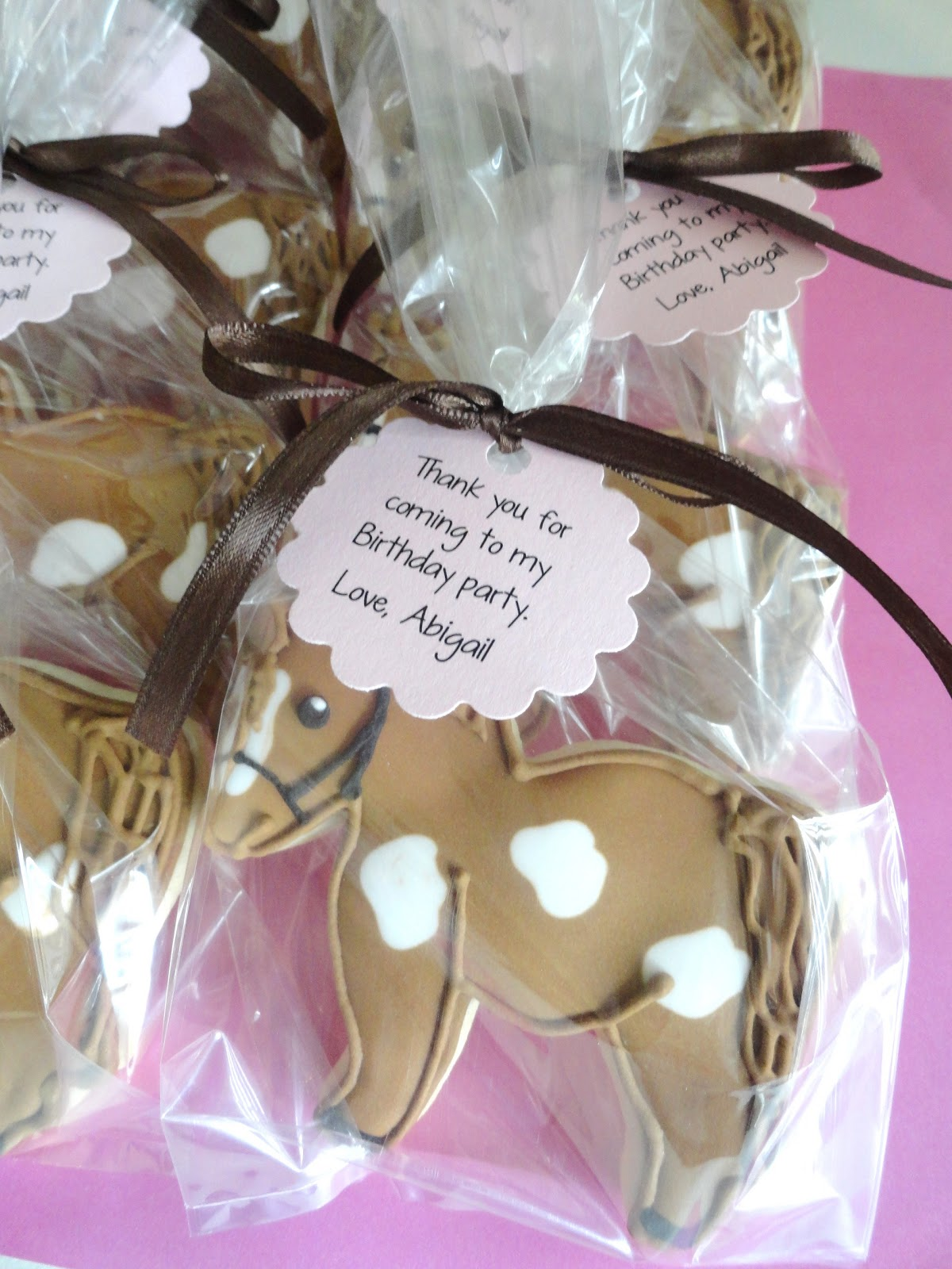 My Pink Little Cake Horse Cookie Favors For A Farm Theme Birthday Party