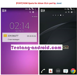 Custom Rom Xperia For Advan S5J+ Plus Terbaik Ringan