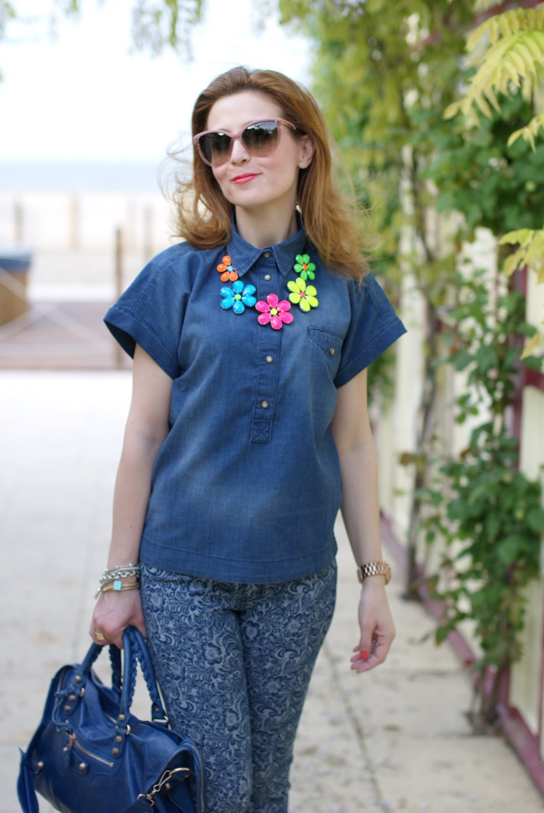 Zara denim shirt, daisy neon necklace, Fashion and Cookies