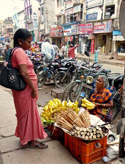 fruit vendor selling sugarcane sticks