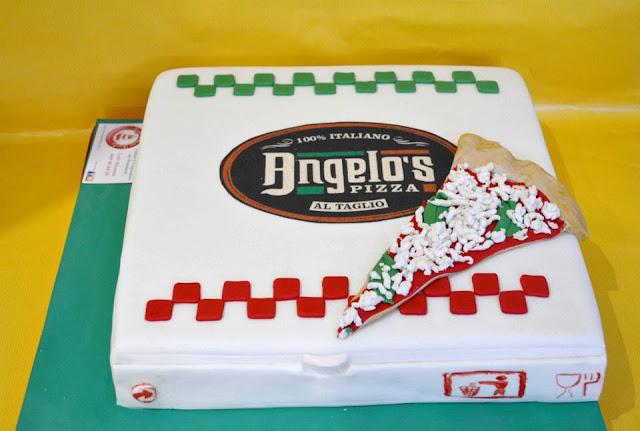 tarta fondant Caja de Piza inauguracion Pizzeria Angelo Castello de Rugat logo impresion comestible Sugar Dreams Gandia