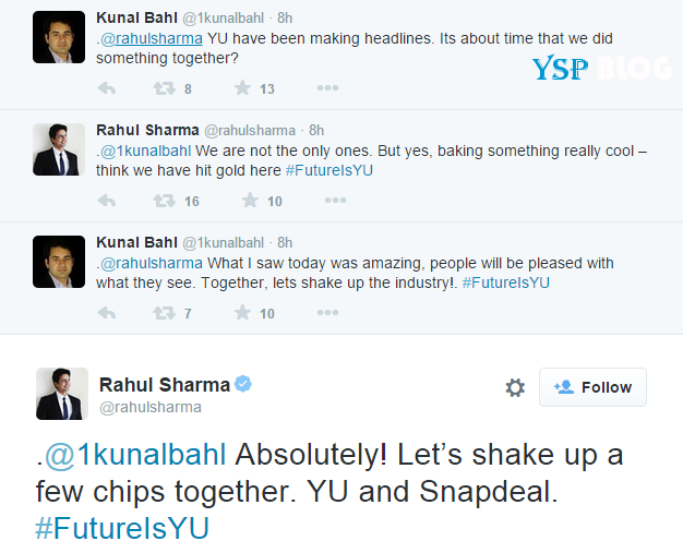 Twitter conversation between Rahul Sharma and Kunal Bahl