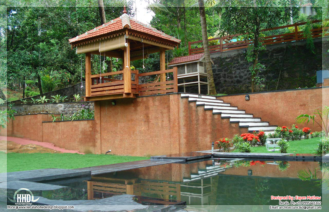 14 beautiful villa elevations kerala house design for Villa landscape plan