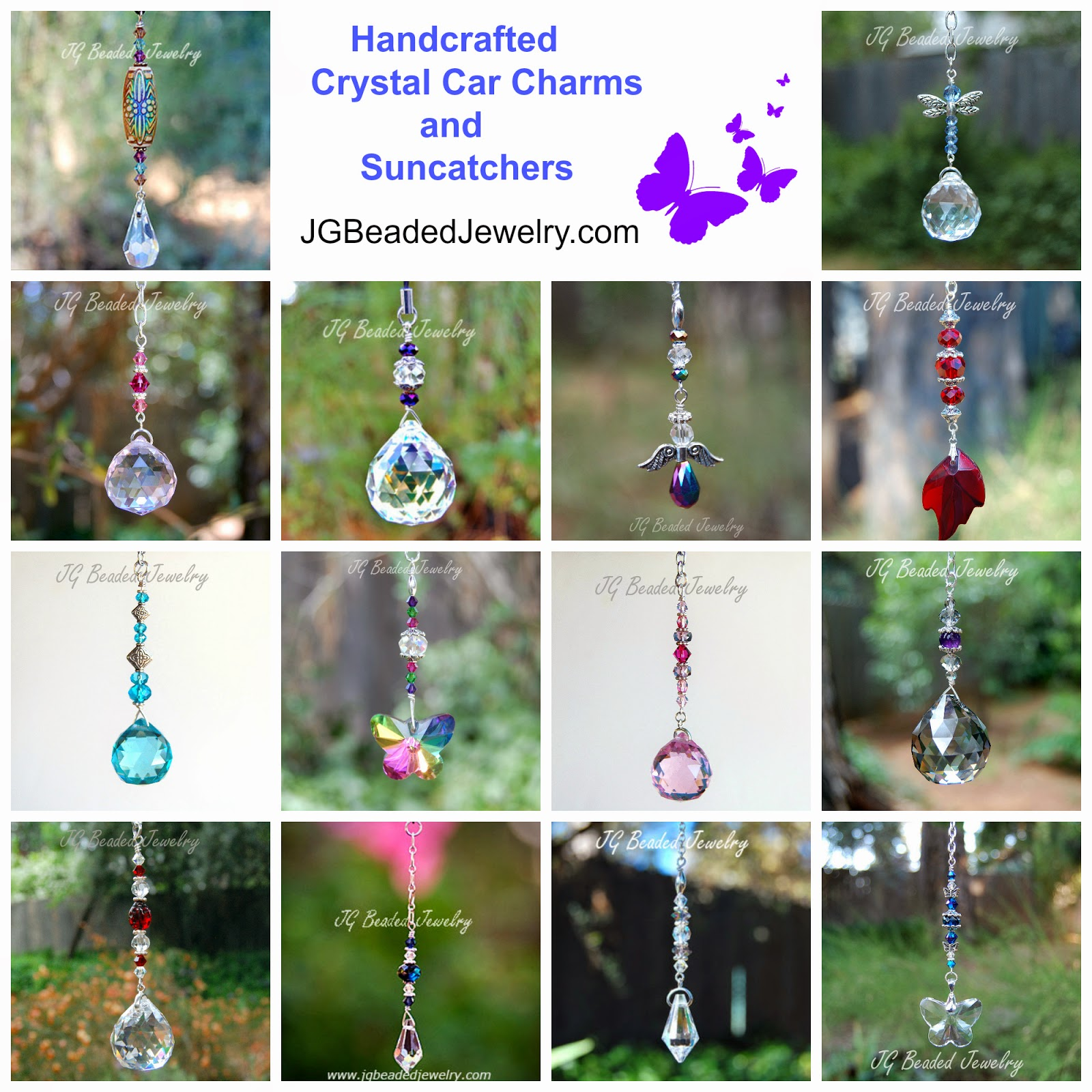 Jg Beaded Jewelry Rearview Mirror Crystal Car Charms And Suncatchers