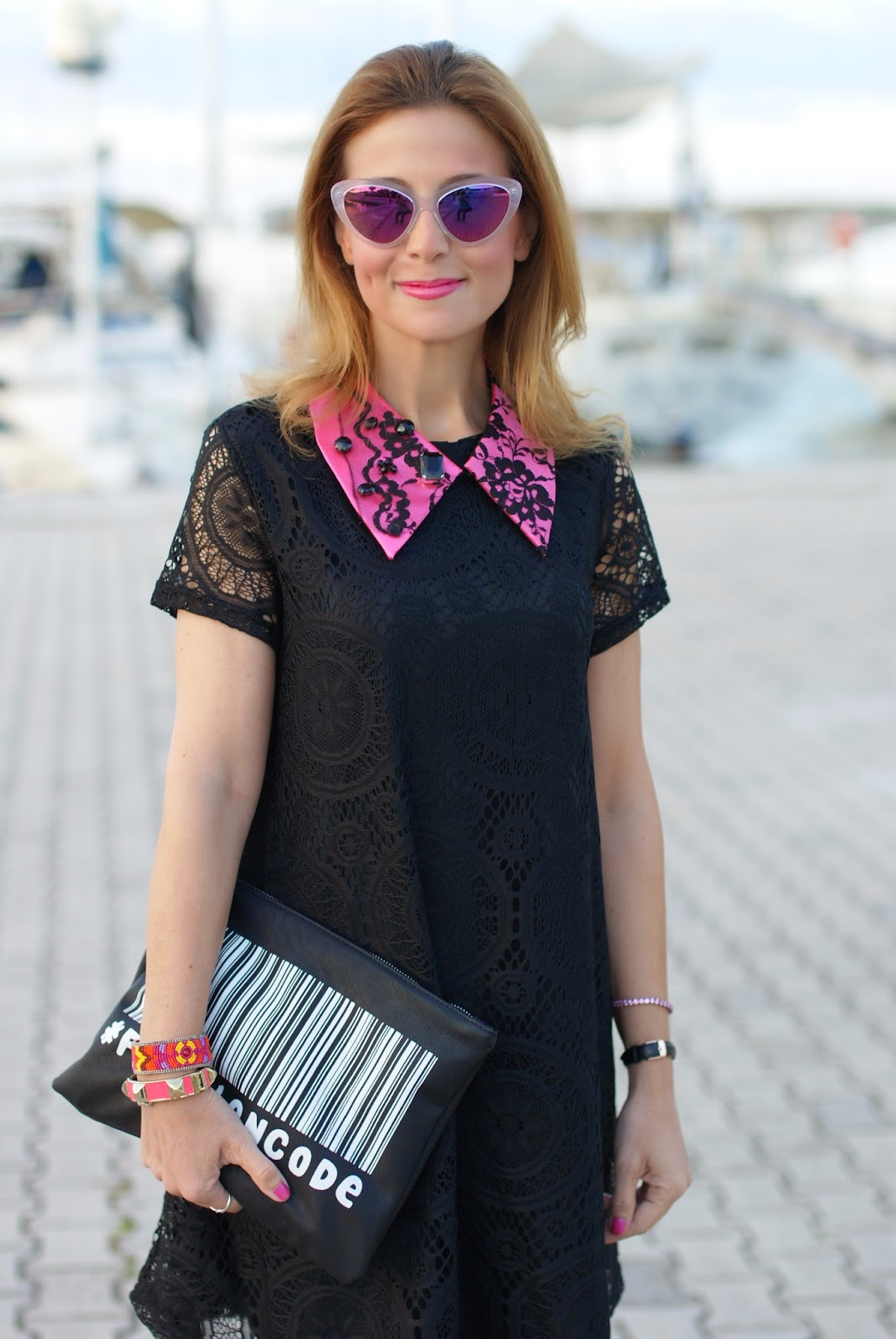 Essequadro eyewear, Fato creazioni, Blackfive lace dress, pink sunglasses, Zara urban code clutch, Fashion and Cookies, fashion blogger