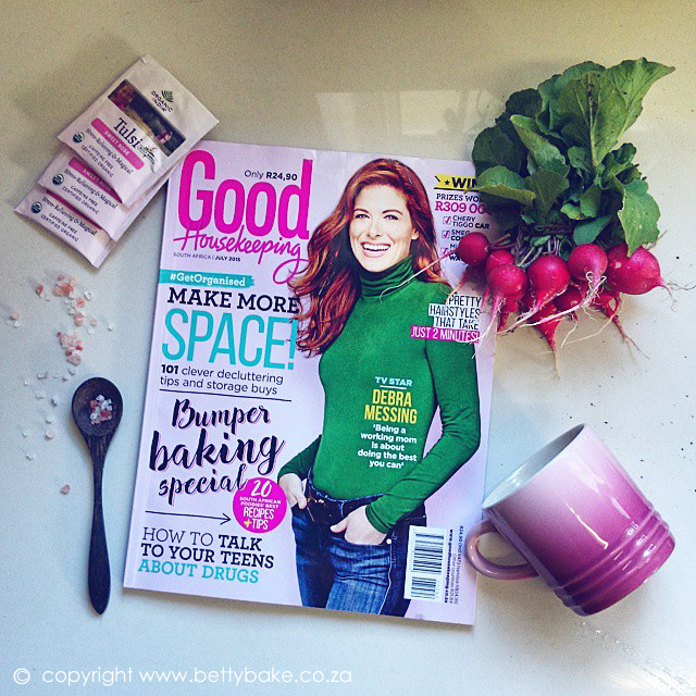 celebrity bake stars, good housekeeping, magazine, betty bake, cover, debra messing, pink, baking,