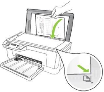 изображение Зеленая стрелка указывает , как положить страницу для копирования