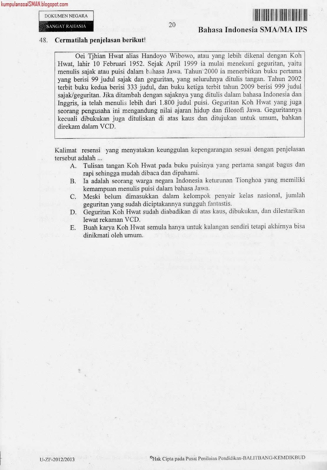 Soal Un Bahasa Indonesia Sma Ips Kode 55 2012 2013 Download Soal Sma Ma Gratis