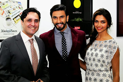Ram-leela starcast Deepika and Ranveer At Khaleej Times office in Dubai.